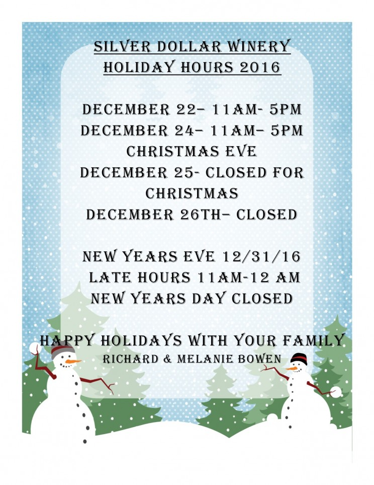 PLEASE NOTE OUR REDUCED HOURS FOR CHRISTMAS. WE ARE OPEN LONGER FOR NEW YEARS